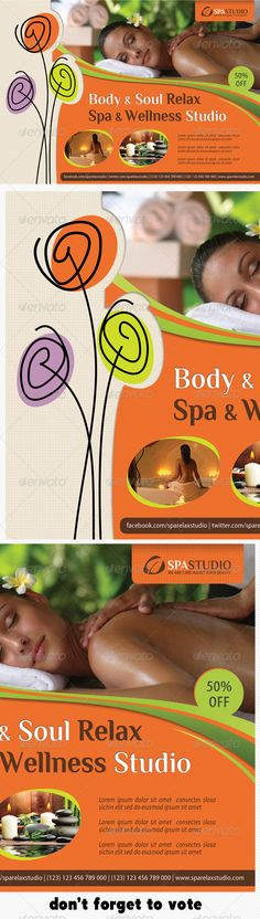 Spa Studio Flyer 08  #GraphicRiver        The Pack included: 	 	 PSD Flyer Template 		 A5 – 210×148mm  		 154×216mm Print size 		 Print Ready 		 CMYK, 300dpi 		 High Quality  		 Bleeds, Guidlines, safe lines 		 Highly Organised Layers 		 Clean Design 		 Preview Images are not included in the download. 		 Editable Logo included 		 Read me file (included instrucions) 	  Free Fonts used: 	 	 Font 1: Myriad Pro (system font) 		 Font 2:  .dafont /philosopher.font 	  	 Vote if you like it. Thank…