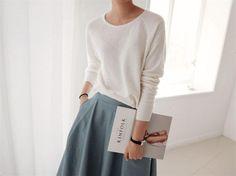 classy retro look for fall midi skirt