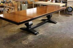 Custom Made Custom Mahogany Wood Trestle Dining Table With 2 Leaves