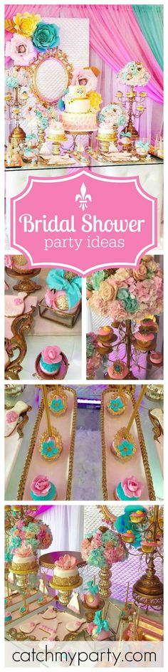 This fabulous mint, cream, gold and pink bridal shower is just so gorgeous! The dessert table is just so elegant and just look at the attention to detail on the cake pops! Wow! See more party ideas at CatchMyParty.com