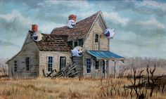 Super Mario Brothers Boo Painting, 'This Old House' - Repurposed Thrift Art - Limited Edition Print or Poster