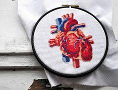 Modern cross stitch pattern, heart hand embroidery pattern, realistic xstitch…