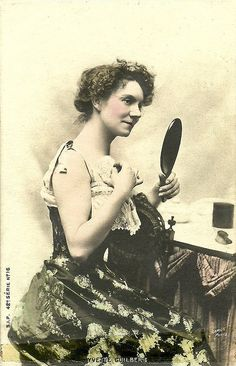 Yvette Guilbert  French postcard by S.I.P., series 4, no. 16.. photo: Camus, Paris.  Yvette Guilbert (1865 – 1944) was a French cabaret singer and actress of the Belle Époque. Her ingenuous delivery of songs charged with risqué meaning made her famous. She also appeared in some classic silent films.