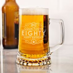 Personalised Engraved Beer Pint Glass Tankard 80th 85th 90th Birthday Gift Boxed