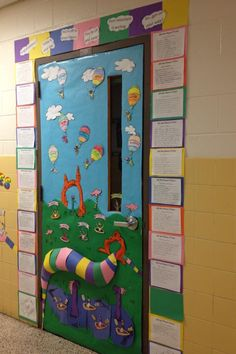 """Read Across America Week Door Decorating Contest. Our school them was """"Oh the Places You'll Go."""" Each little cartoon person on the door has the head of one of my students. Around the door is poems each student wrote in the style of Dr. Seuss about what they want to be! :)"""