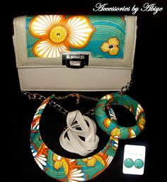 Ladies, womens clutchbag/small handbag (grey,green and orange) ankara african print with matching bangle & necklace and stud earring
