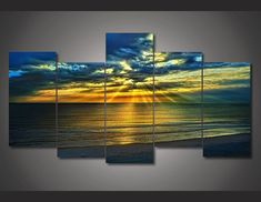 2016 Top Fashion Unframed Wall Art Paintings Hot Sale Hd Golden Beach Painting On Canvas Room Decoration Print Picture No Frame
