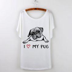 2016 Funny Pug Print Women T-Shirt Loose T Shirt French Bulldog Tee