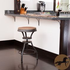 With the Lucian Fir Top Adjustable Barstool, you can add adjustable seating to your bar or even a fun way to sit at your dining table. Arriving fully assembled, you'll have years of use with its sturdy iron frame.