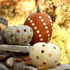DIY- Polka-dot pumpkins. How-to: http://www.midwestliving.com/homes/seasonal-decorating/pumpkin-decorating-projects/page/18/0
