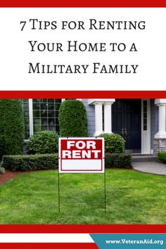 7 Tips for Renting Your Home to a Military Family Military Families, Military Veterans, Renting, Being A Landlord, Tips, Outdoor Decor, Blog, Home, Ad Home