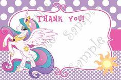 My Little Pony Birthday Invitation, My little Pony Thank you card