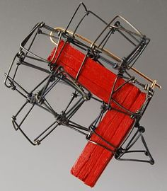 KATE BARTON-NZ brooch-Structure brooch oxidised stg silver, 9ct gold, wood, paint-2010