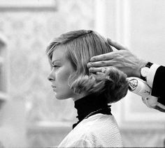"""""""The Flip""""…woman having her styled at Saks Fifth Avenue hair salon, photo by Yale Joel, New York, Dec. 1962"""