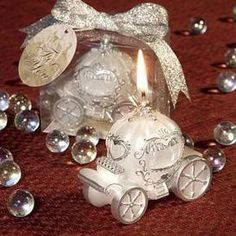 cinderella wedding favor, cinderella carriage candle