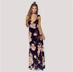 Deep Blue Floral Print Wrap Maxi Dress