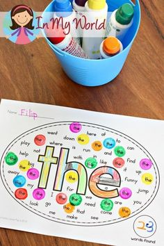 Fun hands-on sight words worksheet! Works great with Do A Dot pen! A great sight word game for literacy centers with kindergarten and first-grade kids! Sight Word Worksheets, Sight Word Activities, Kindergarten Sight Word Games, Literacy Games, Sight Word Bingo, Sight Word Centers, Word Work Centers, High Frequency Words Kindergarten, Letter Recognition Kindergarten