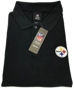 NEW Reebok Pittsburgh Steelers Polo Shirt Large Mens Short Sleeve NFL Size Sz L #Reebok #PoloRugby #PittsburghSteelers