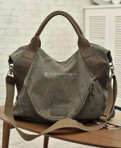 Large Capacity Shoulder Bag Leather Canvas Bag (13)