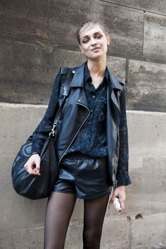 ★ //» awesome leathery blackout. #offduty in Paris. #PFW