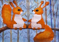Children's drawing Two squirrels in the woods