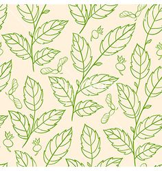 Seamless pattern with green branches vector. Nature leaves pattern by Artspace on VectorStock®