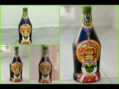 This video will show you easy bottle art with kerala Kathakali. Kathakalī is a major form of classical Indian dance. Wine Bottle Art, Diy Bottle, Bottle Caps, Glass Bottle Crafts, Glass Bottles, Diy Glasses, Kerala Mural Painting, Glass Paint, 3d Origami