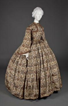 In the Swan's Shadow: Brown Print Dress, c. 1860