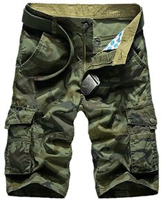 Panegy Mens Bermudas Loose Fit Ripstop Multi Pockets Camouflage Cargo Shorts Tag Size 38  Army Green -- Want to know more, click on the image.