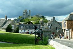 Corfe Castle village in the English county of Dorset