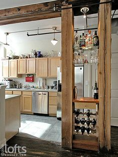 kitchen islands with columns and posts and beams | ... between 2 supporting columns that separate the kitchen/dining areas. Love the beams