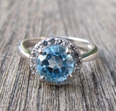 Gorgeous Blue Topaz Halo Ring- Engagement Ring- Promise Ring- Her and His Promise Rings- December Birthstone Ring- Anniversary Ring on Etsy, $139.00