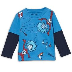c7dafeb48 Dr Seuss The Cat In Hat Kite Flying Blue Long Sleeve Shirt Dr Seuss Go Fly