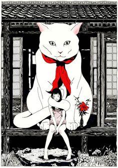 "redlipstickresurrected: ""Yusuke Nakamura aka 中村佑介 (Japanese, b. Art And Illustration, Illustrations, Tachisme, Comic Kunst, Comic Art, I Love Cats, Crazy Cats, Animal Gato, Japanese Cat"