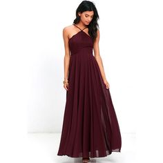 Everlasting Enchantment Burgundy Maxi Dress ($84) ❤ liked on Polyvore featuring dresses, red, lulus dresses, white maxi dress, red halter top, halter tops and halter top maxi dress
