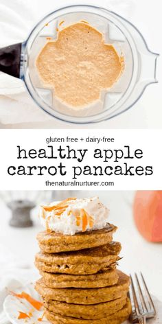 Healthy Carrot Apple Pancakes Healthy Apple Carrot Pancakes are made with only a few ingredients mixed entirely in your blender and are a wonderful way to start your day. The post Healthy Carrot Apple Pancakes appeared first on Gesundheit. Gluten Free Breakfasts, Healthy Breakfast Recipes, Healthy Snacks, Apple Breakfast, Healthy Smoothies, Smoothie Recipes, Healthy Blender Recipes, Healthy Milk, Snacks Kids