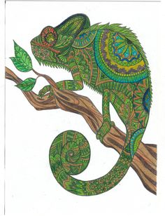 Finished chameleon colored page