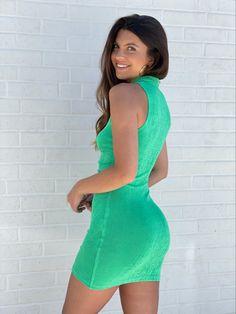 #buttonupdress #greendresses #minidresses #shimmerdress Italian Women, New Arrival Dress, Button Up Dress, I Feel Pretty, Green Dress, Collars, Bodycon Dress, High Neck Dress, Mini
