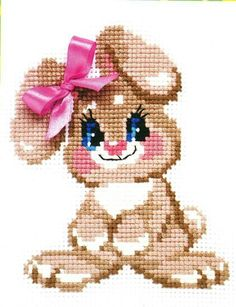 Cross stitch kit featuring a rabbit. This cross stitch kit co Cross Stitch Bookmarks, Cross Stitch Rose, Counted Cross Stitch Kits, Baby Hats Knitting, Baby Knitting Patterns, Cross Stitch Designs, Cross Stitch Patterns, Cross Stitching, Cross Stitch Embroidery