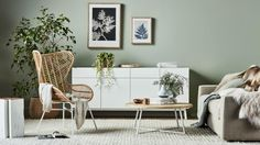 Limited edition botanical graphic print from Pernille Folcarelli. Thuja White - Available in US from Esthetic Living. Sage Living Room, Living Room Update, Eclectic Living Room, Boho Living Room, Small Living Rooms, Living Room Chairs, Living Room Designs, White Living Room Furniture, Green Living Rooms