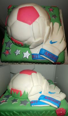 Soccer Goalie Birthday Cake Soccer Goalie Birthday cake for an 8 year old girl. My 9th cake creation! It was a fun one =)