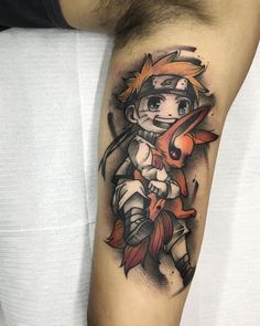 Naruto e Kurama Dope Tattoos, Anime Tattoos, Hair Tattoos, Leg Tattoos, Body Art Tattoos, Sleeve Tattoos, Tattoos For Guys, Tatoos, Tatuaje Harley Quinn