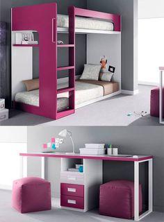 Kids Bedroom Designs, Bunk Bed Designs, Kids Room Design, Interior Design Living Room, Bedroom Furniture, Home Furniture, Bedroom Decor, Girl Room, Girls Bedroom