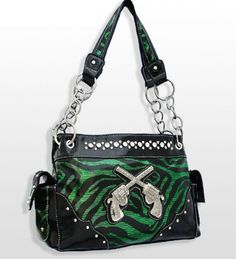 Green Zebra Print Western Style Double Pistol Purse - Handbags, Bling & More!