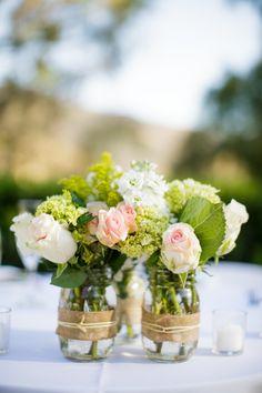 #mason-jars, #centerpiece  Photography: Weddings By Sasha Gulish - www.weddingsbysashagulish.com  Read More: http://www.stylemepretty.com/2013/12/02/maravilla-gardens-wedding-from-weddings-by-sasha-gulish/