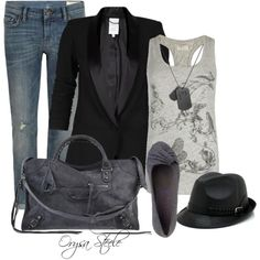 "Black blazer. Check. Grey tank. Check. Jeans. Check. Don't need to buy this outfit- now why didn't I come up with this idea!  ""Fun and Funky"" by orysa on Polyvore"