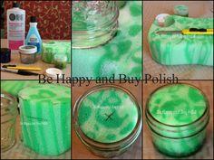 """behappyandbuypolish: """" DIY Nail Polish Remover Jar. Click through for full details. """""""