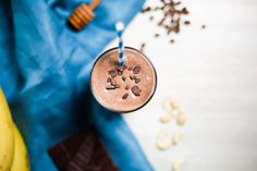 Enjoy sipping your breakfast or recharging with a post-workout protein shake? Try this Bone Broth Protein Mocha Fudge Smoothie. It's Paleo and delicious.