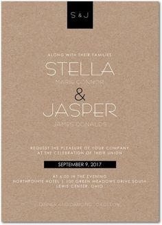 Stylish Elegance - Signature White Wedding Invitations - Magnolia Press - Hazelnut - Neutral : Front