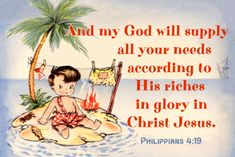 And my God will supply all your needs Free Christian Message Card
